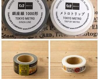 Traveler's Factory Tokyo Metro Ginza Line 1000 series and metro trip Masking Tapes Set Made in Japan Free shipping Limited Rare Midori