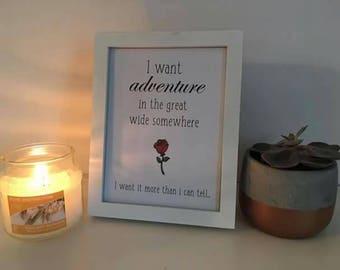 Beauty and the beast, belle, rose lyrics print,Disney, home decor gift