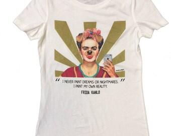 Frida Kahlo Dog Selfie Womens White T Shirt