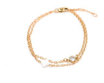 """Bracelet """"delicacy"""" clover and zircon, gold-plated 14 k, double towers, minimalist, modern, french, celebration of mothers"""
