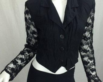 Black Lace Sleeve V-Neck Shrug Size Small