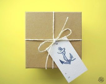 6 Gift Tags with strings - Anchor // Label, Card, Birthday, Nautical, Gift Accessory, Host Gift, Wine Label, Baptism, Jam Label, Christmas