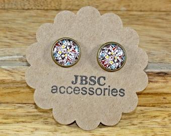 Abstract earrings, Art earrings, abstract studs, Bronze earrings, stud earrings, Glass Cabochon earrings, Unique jewelry, FUN studs