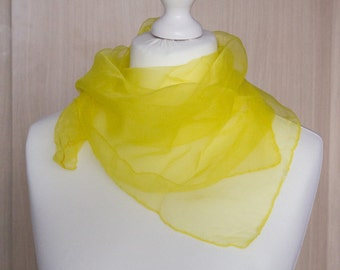 "vintage Square scarf, retro scarf, polyester scarf, fabric women scarf shawl 66x66cm / 26x26"" yellow sheer nylon scarf chiffon scarf"