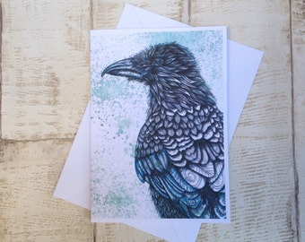 Raven Card, A6 Greeting Card, Greetings card,cards birds,Bird,Corvid,Print of original hand drawn illustration, Blank card