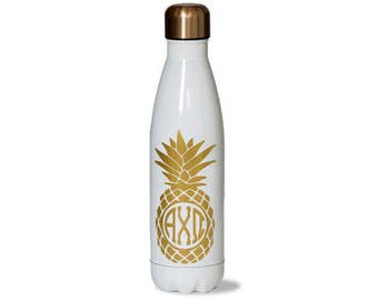 axo alpha chi omega sorority stainless steel water bottle with gold pineapple greek letter design