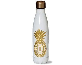 axo alpha chi omega sorority stainless steel water bottle with gold pineapple greek letter design