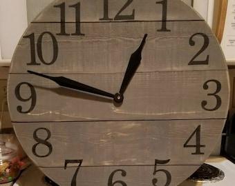 22 Inch Dark Gray Shiplap Clock