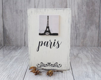 Paris Sign - Rustic Sign - Distressed Sign - Fabric and Wood Sign