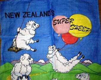 "Vintage 1980s Linen Tea Towel ""New Zealand's Super Sheep"" - Copyright Design by Derek / Retro Sheep Tea Towel"