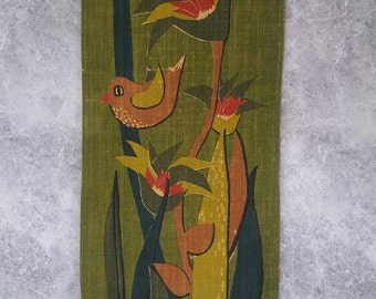 Vintage swedish  Tapestry Handprinted Jute by Textil Artist May Bhuler Retro Wall Decor Used Vintage Lovley colours