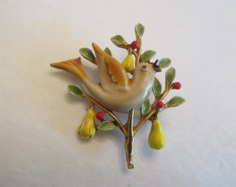 Very Pretty Vintage Signed ART Partridge in a Pear Tree Pin