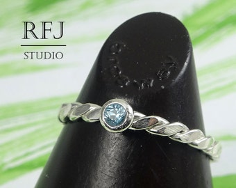 Natural Swiss Topaz Flat Rope Silver Ring, December Birthstone 2 mm Round Cut Swiss Blue Topaz Flattened Twist Ring Sterling Swiss Blue Ring