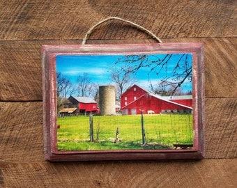 Farm Life, Barn, Red Barn, Photograph, Wood Plaque, Wall Decor