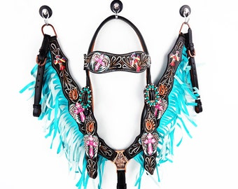 Turquoise Fringe Hand Painted Cross And Wings Hand Tooled Barrel Racer Leather Headstall Western Horse Trail Bridle Breast Collar Plate Set