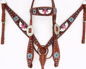 Handmade Cross And Wings Leather Headstall Western Barrel Trail Horse Bridle Breast Collar Plate Tack Set Made To Order