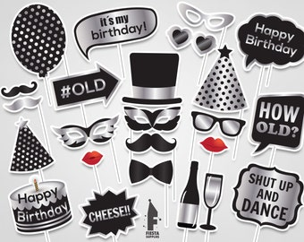 Silver Birthday Party Printable Photo Booth Props, photo booth props, printable PDF, Birthday props, Black and silver props, Birthday party