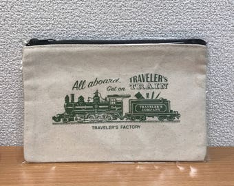Travelers Factory Tokyo station edition limited cotton zip flat pouch