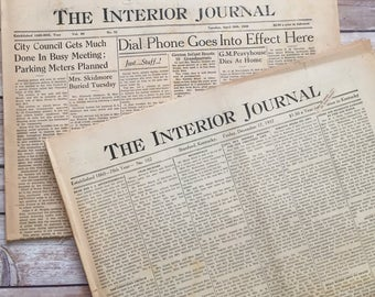 """1937 and 1949 Newspapers 'The Interior Journal"""" A Vintage version of FaceBook"""