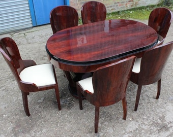 Antique Art Deco Style Furniture - Table With 6 Marching Chairs In Rosewood - Dining Room Furniture C403
