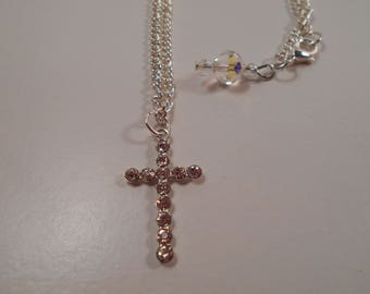 """Crystal 18"""" Silver Cross Necklace, Handmade Necklace for Her, Christian Necklace, Mother's Day Gift"""