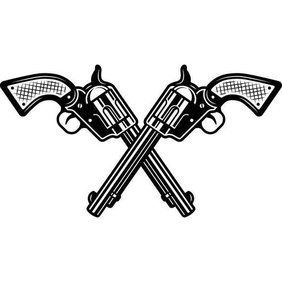 Cowboy Logo #1 Guns Crossed Weapon Pistol Revolver Western ...