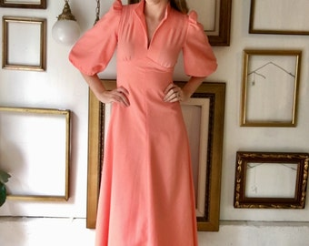 Vintage Coral Dress with Puffy Sleeves High Collar - Free Ship