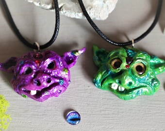 Cute Goofy Goblin Choker Necklaces, Fantasy Creature, Handsculpted Polymer Clay Pendant, OOAK