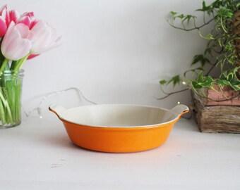 Vintage French Le Creuset Orange Cast Iron Small Gratin Dish - Individual Gratin Dish