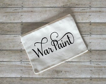 War Paint Makeup Cosmetic Bag, Cotton Canvas, Small Cosmetic Bag, Gift for Her, Face Stuff Bag, Toiletry Bag, Makeup Case, Bridesmaid Gift