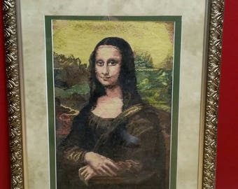 Mona Lisa crosstitch framed and matted