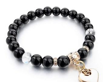 Heart Charm Bead Bracelet Black & Gold