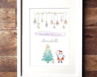 Personalised Santa Stop Here A4 Print