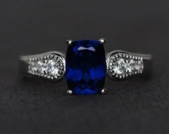 sapphire ring blue engagement ring promise ring blue gemstone ring September birthstone ring