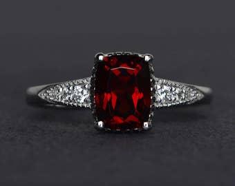 cushion cut garnet ring red gemstone ring silver wedding engagement rings January birthstone