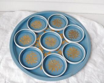 Vintage Metal Tray Coaster Set Blue Gold