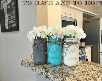 Painted Mason Jar Home Decor. PEWTER Gray. MALIBU. IVORY White. Chalk Paint. Vintage. Rustic. Distressed. Wedding Centerpiece. Shower Gift.