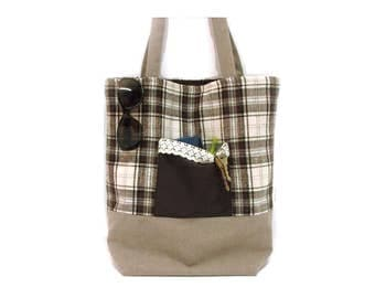 Cotton and flannel tote bag, brown and beige plaid bag