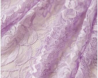 LIGHT LILAC/ purple/ Lavender - colored Chantilly Lace, Eyelash lace, Bridal Lace Fabric, Evening dress Lace, Lingerie Lace - (CHF2-LL)