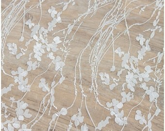 Wedding Lace fabric with floral elements, soft embroidered bridal lace, Alencon Lace, floral lace fabric, Butterfly Lace - (CLF541221)