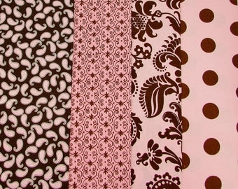 Pink and brown cotton prints quilting fabrics bundle, Stylized large floral, polka dots, paisley print, craft fabric stash, fabric remnants