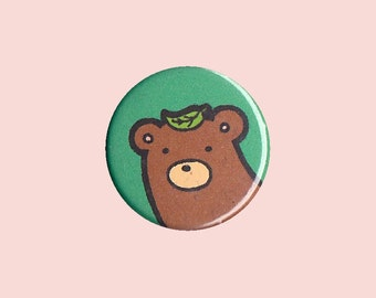 Bear Badge - bear pin, bear button, kid's button, children's badge, cute button