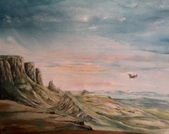 Skye painting, Watercolour - Quiraing Range with Sea Eagle
