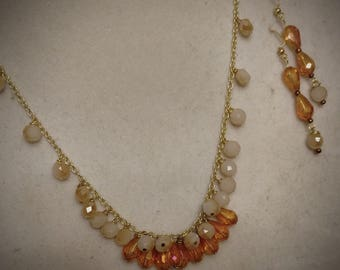 Gold and Tangerine 3pc Necklace Set
