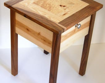 Bedside side table solid wood Walnut Esche