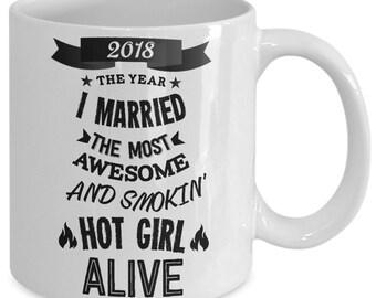 Wedding Gifts For Groom - 2018 The Year I Married Mug - Funny Groom