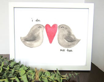 Love Birds with Heart Watercolor Print - Home Decor - Wedding Gift - Anniversary Gift - Wall Art - Gift for Her - Gift for Her