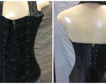 1323 Black Leather Corset