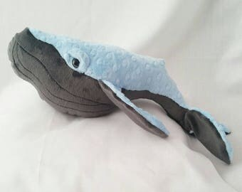 Baby Humpback whale,plush whale, cuddly whale,blue and grey whale, whale Teddy,  whale plush, baby whale, whale, toy whale