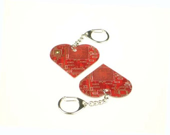 Red Circuit Board Heart Keychain/Keyring - Computer Geek Gift